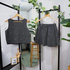 Embroidered Arrow Top & Skirt Set